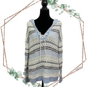 John + Jenn open knit lace up pullover sweater Med